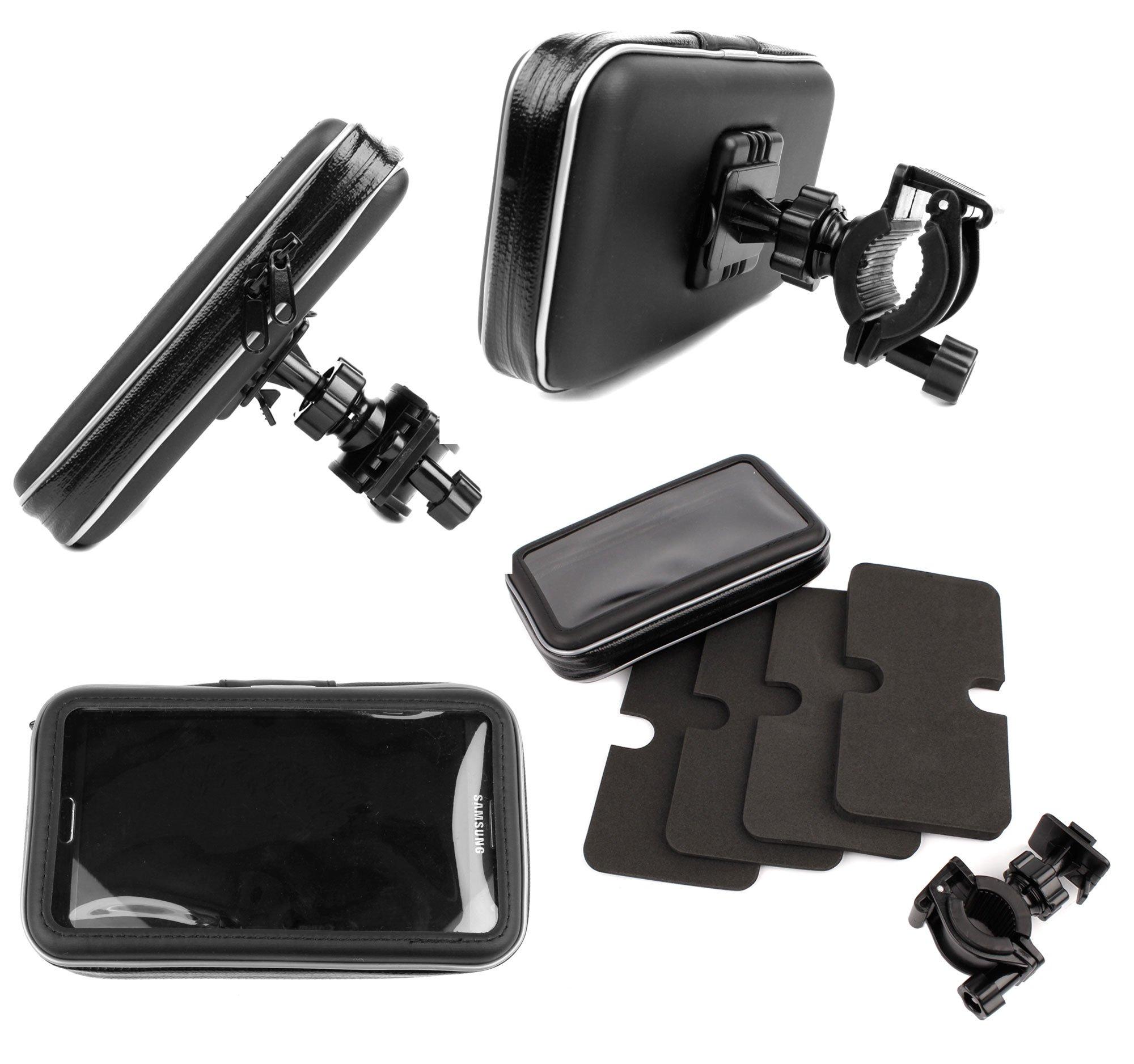 DURAGADGET Water-Resistant & Shock-Absorbing Cyclists' Satnav Case & Bike Handlebar GPS Mount - Compatible with Falk R300   R350   S400   S450 Satnav