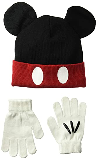 Disney - Juego de Guantes de Punto de Mickey para niño con Gorro de Orejas 391e6494977