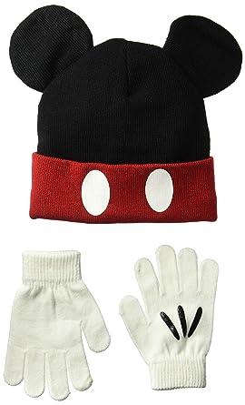 Disney Boys  Little Mickey Knit Cuff Beanie Glove Set with Pom Ears ... 9dda43820962