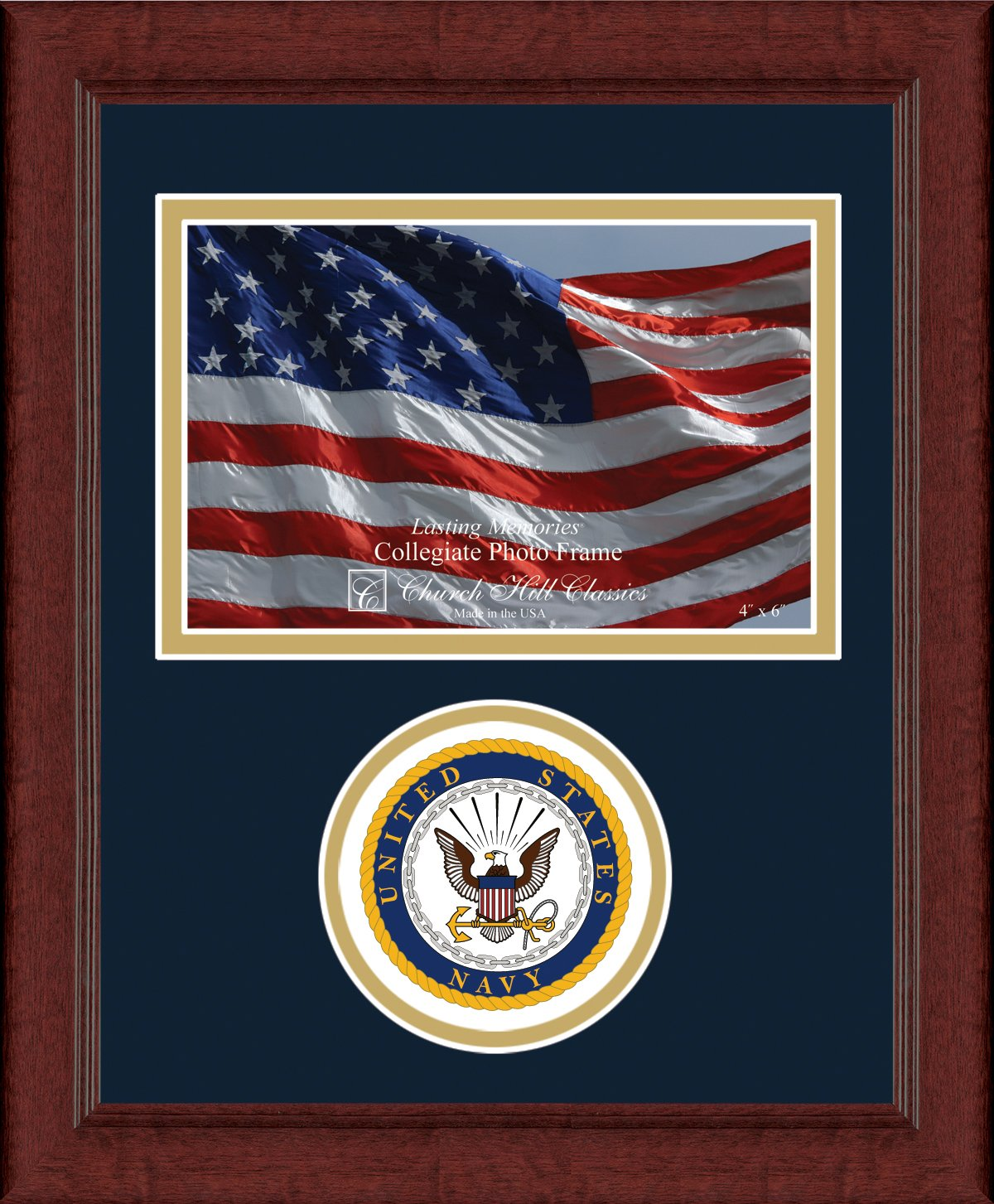 US Navy Photo Frame - 4 x 6 Horizontal Photo - Features US Navy Seal - By Church Hill Classics