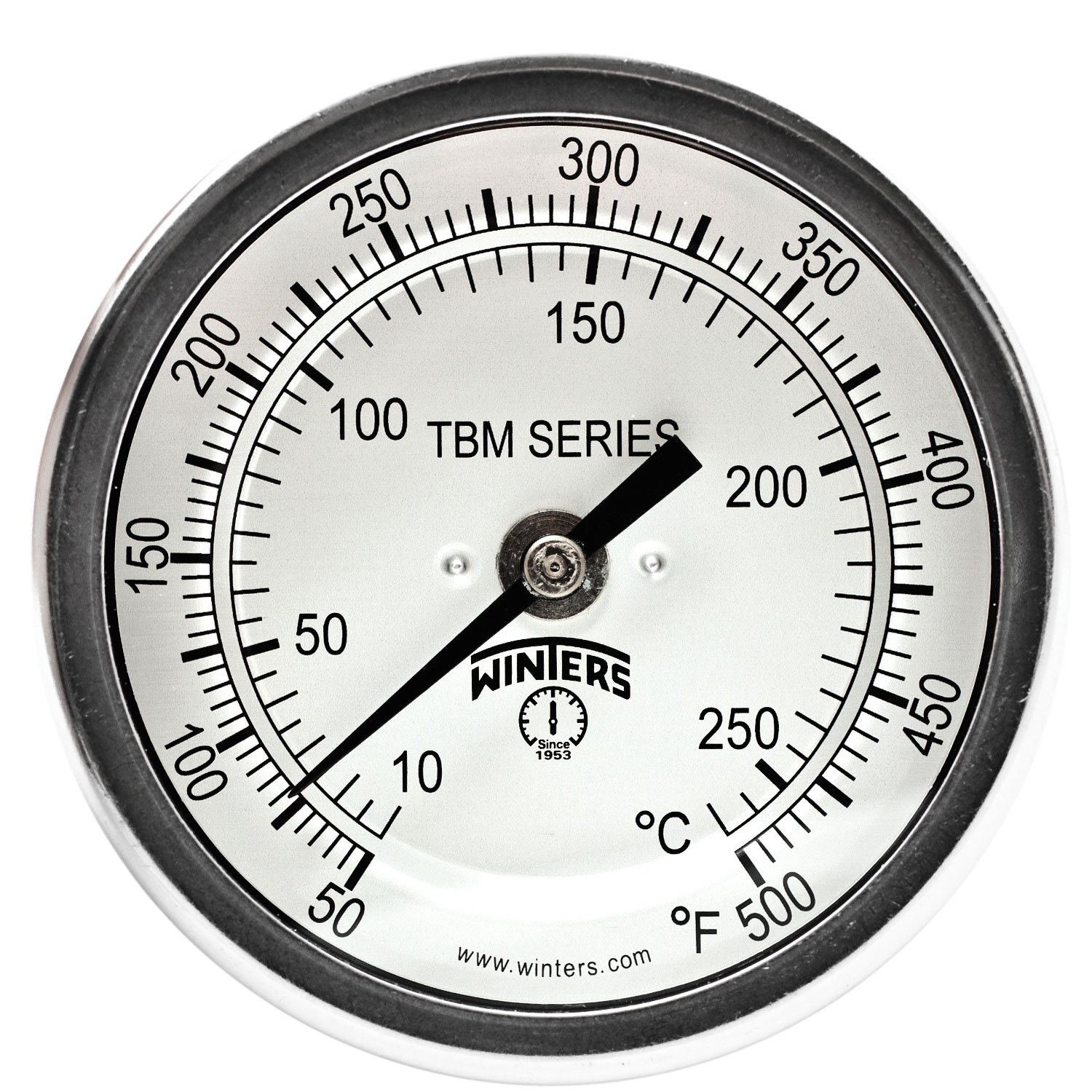 Winters TBM Series Stainless Steel 304 Dual Scale Bi-Metal Thermometer, 6'' Stem, 1/2'' NPT Fixed Center Back Mount Connection, 3'' Dial, 50-500 F/C Range