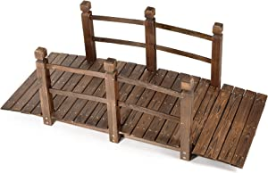 HYNAWIN Garden Bridge,Wood Arc Bridge with Rails for outside-5FT Length(Brown),Classic Decoration for Landscaping Backyard Creek Pond or Farm