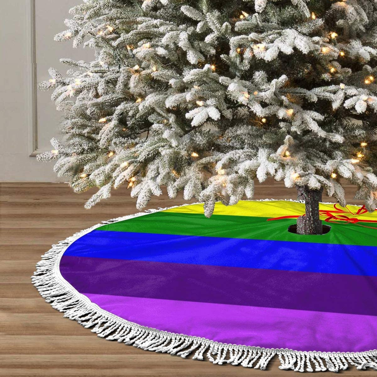 """GHYGTY Christmas Tree Skirt 36"""" Inch LGBT Gay Pride Flag Xmas Tree Skirt Mat with White Tassel for Party Holiday, Tree Skirt Christmas Decorations"""