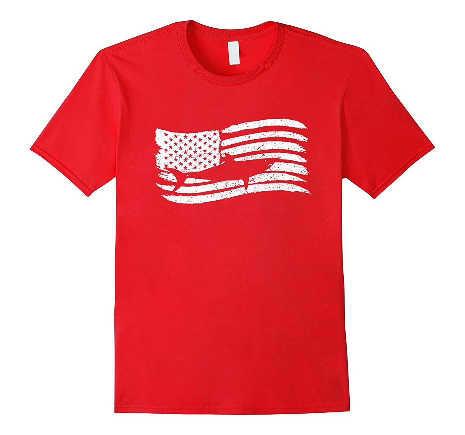 American Flag T-Shirt With Shark Vintage Look-PL