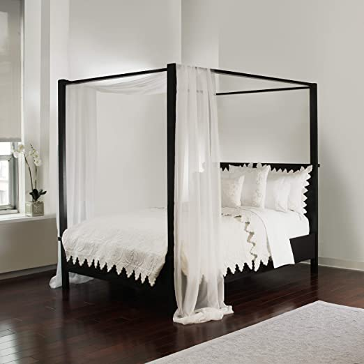 Amazon Com Royale Linens White Sheer Bed Canopy Scarf Home Kitchen