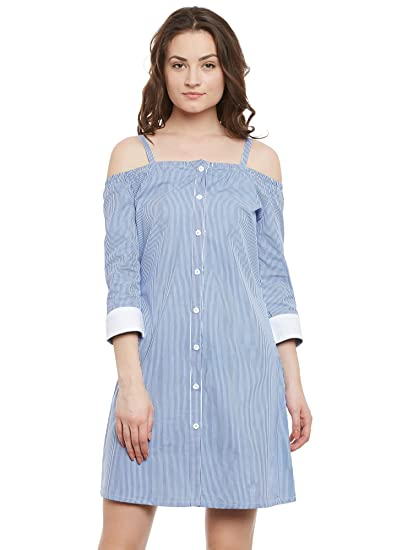 835cc501ea52 The Silhouette Store Blue and White Striped Button Down Off Shoulder Shirt  Dress L