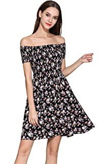 9d3cc81b653 Women s Off The Shoulder Elastic Casual Dress Floral Swing Dress …