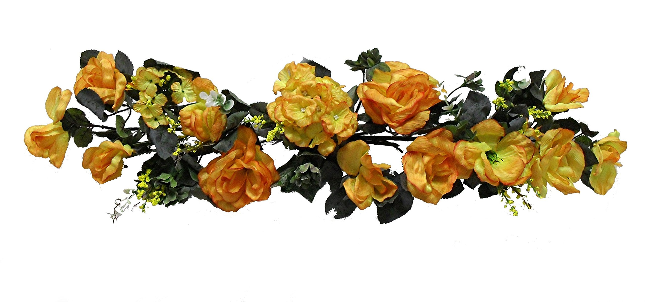 Wholesale Silk Floral Crinkle Silk Rose Swag, 28'', Yellow