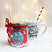 Personalised Hot Chocolate Latte Mug with Deluxe Hot Chocolate and Christmas Toppings