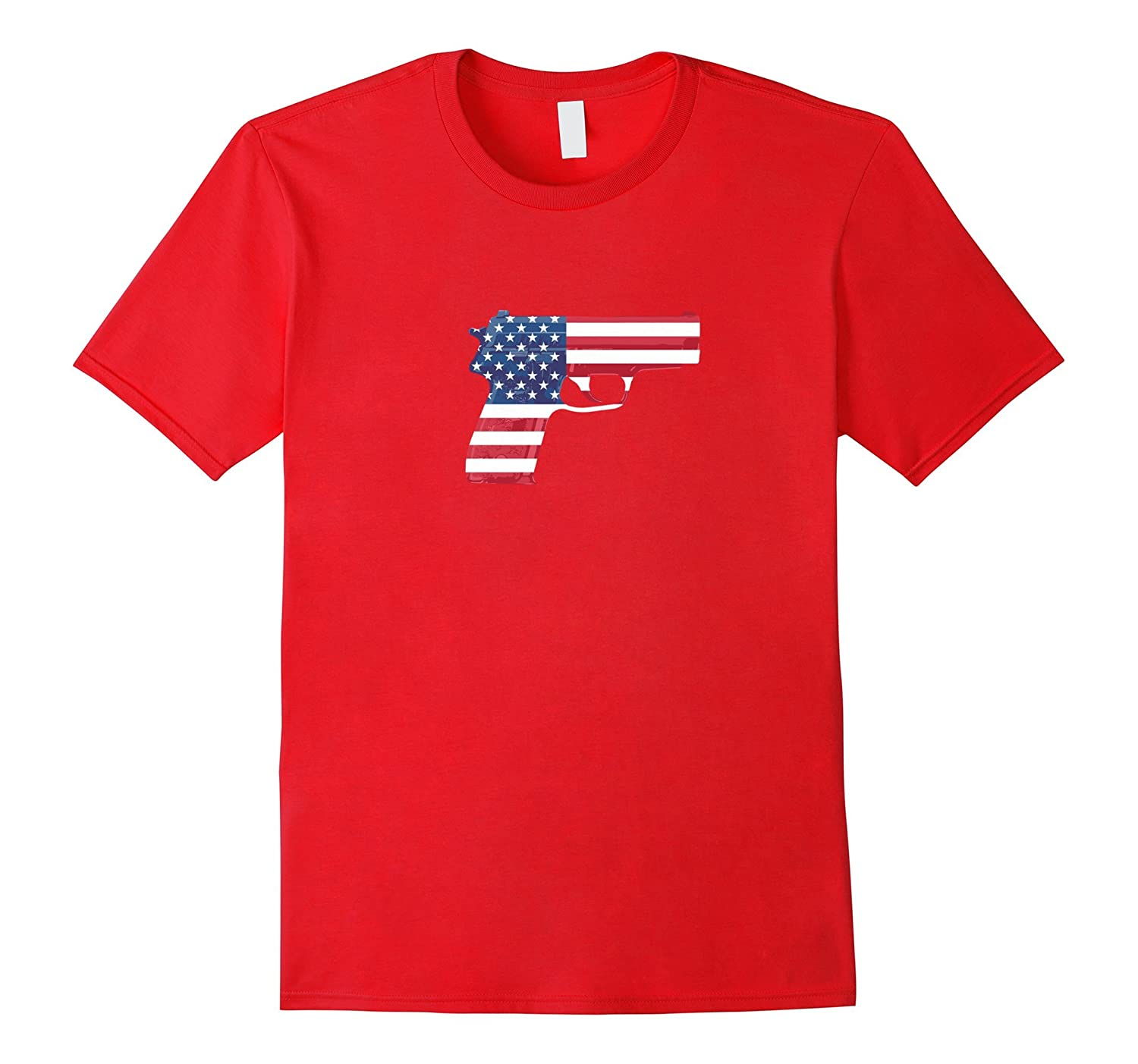 American Flag Gun T-shirt Cool Fashion Casual Top Tee-Vaci