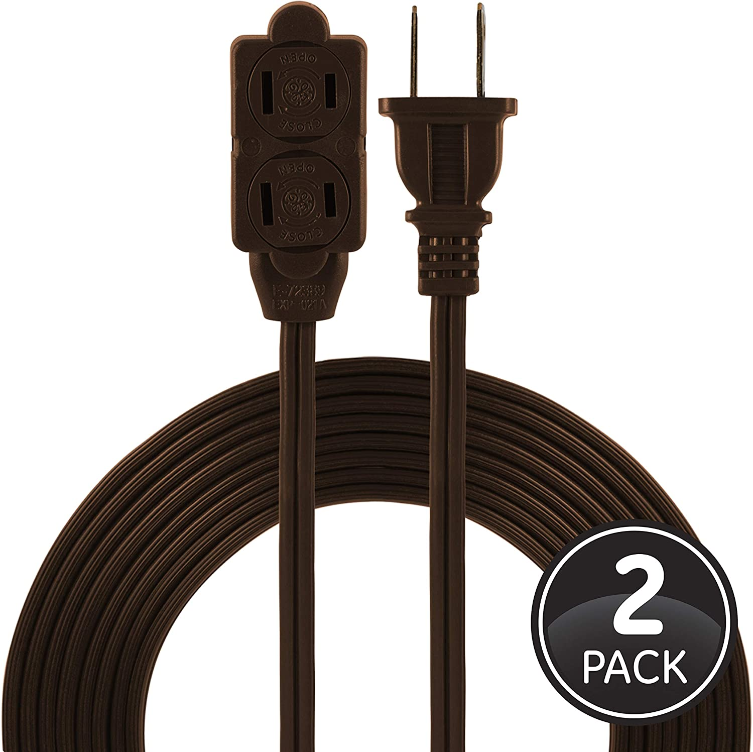 GE 12 Ft 2 Pack, Brown, 50409 Extension Cord, 3 Power Strip, 2 Prong, 16 Gauge, Twist-to-Close Safety Outlet Covers, Indoor Rated, Perfect for Home, Office or Kitchen, UL Listed