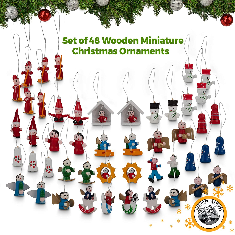 Miniature Christmas Ornaments.Northpolexpress Premium Mini Wooden Christmas Tree Ornaments Set Of 48 Ornament Figures Advent Calendar Stuffers Fillers Santa Claus Snowman