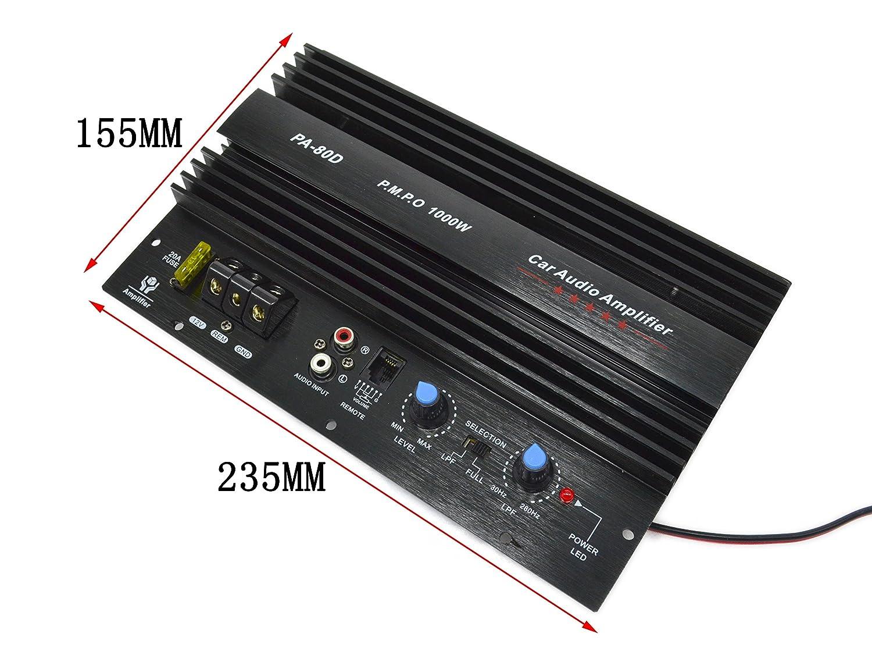 Amazon com: PA-80D AMP Car Subwoofer Amplifier 1000W Power Amplifier