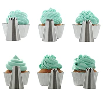 Bebefun 304 Stainless Steel Extra Large Jumbo Classical Cup Cake Piping Icing Decoration Tips