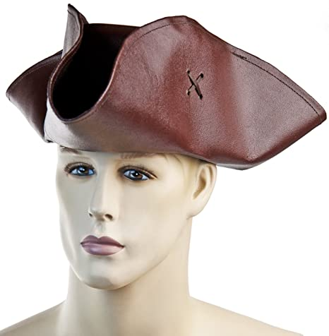 Tricorno pirata cappello in vera pelle marrone taglia L  Amazon.it ... a4d2ef19cc66
