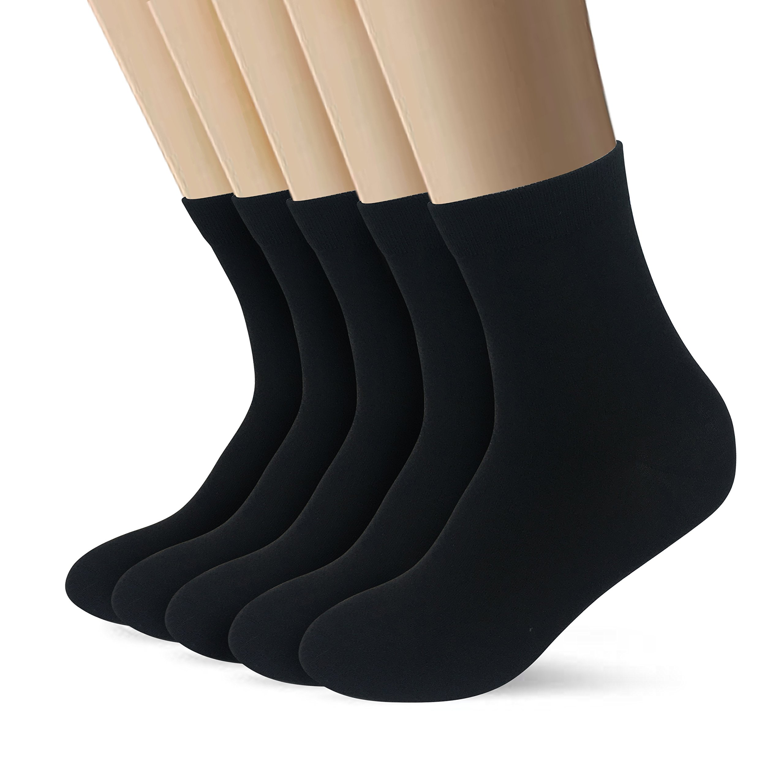 Bamboo Men sock Low Quarter Athletic Sock Ankle High Odor Resistant soft Sock 5 Pairs (Black)