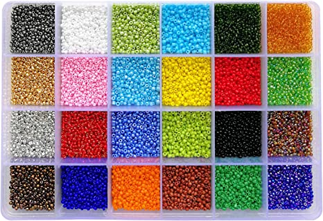 26400pcs 2mm Glass Seed Beads 24 Colors Loose Beads Spacer Beads with 24-Grid Plastic Storage Box for Jewelry Making
