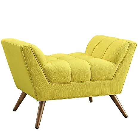 Modway Response Mid Century Modern Ottoman Upholstered Fabric In Sunny