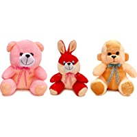 Babique 25 Cm Combo Rabbit Monkey And Teddy Soft Toy For Kids - Multi Color