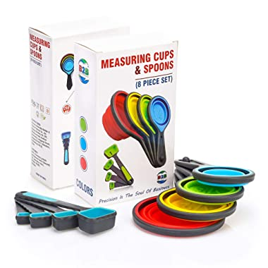 Collapsible Measuring Cups and Spoons Set - 8 Pcs Travel Silicone Measuring Cups and Measuring Spoons