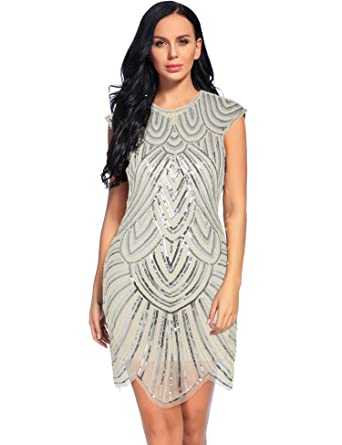 0e0cf618 Image Unavailable. Image not available for. Color: Flapper Girl 1920s  Gatsby Sequin Embellished Mesh Flapper Dresses (S, Beige)