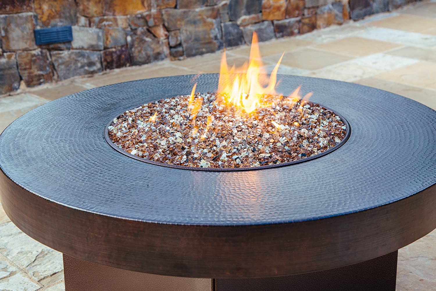 "Amazon Hammered Copper 42"" Round Oriflamme Fire Table Gas"