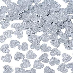 MOWO Glitter Heart Paper Confetti Circles Wedding Party Decor and Table Decor 1.2'' in Diameter (Silver Glitter,200pc)