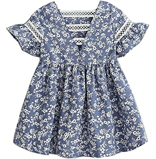 9beb0173fed Qinni-shop Little Girls Country Floral Print Lace Hollowed Out Back Summer  Cotton Dress