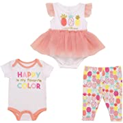 Mini B. by Baby Starters 3-Piece Layette Set with a Lap Shoulder Bodysuit, Skirted Bodysuit Dress and Leggings (Coral, Pineapple, 6-9M)