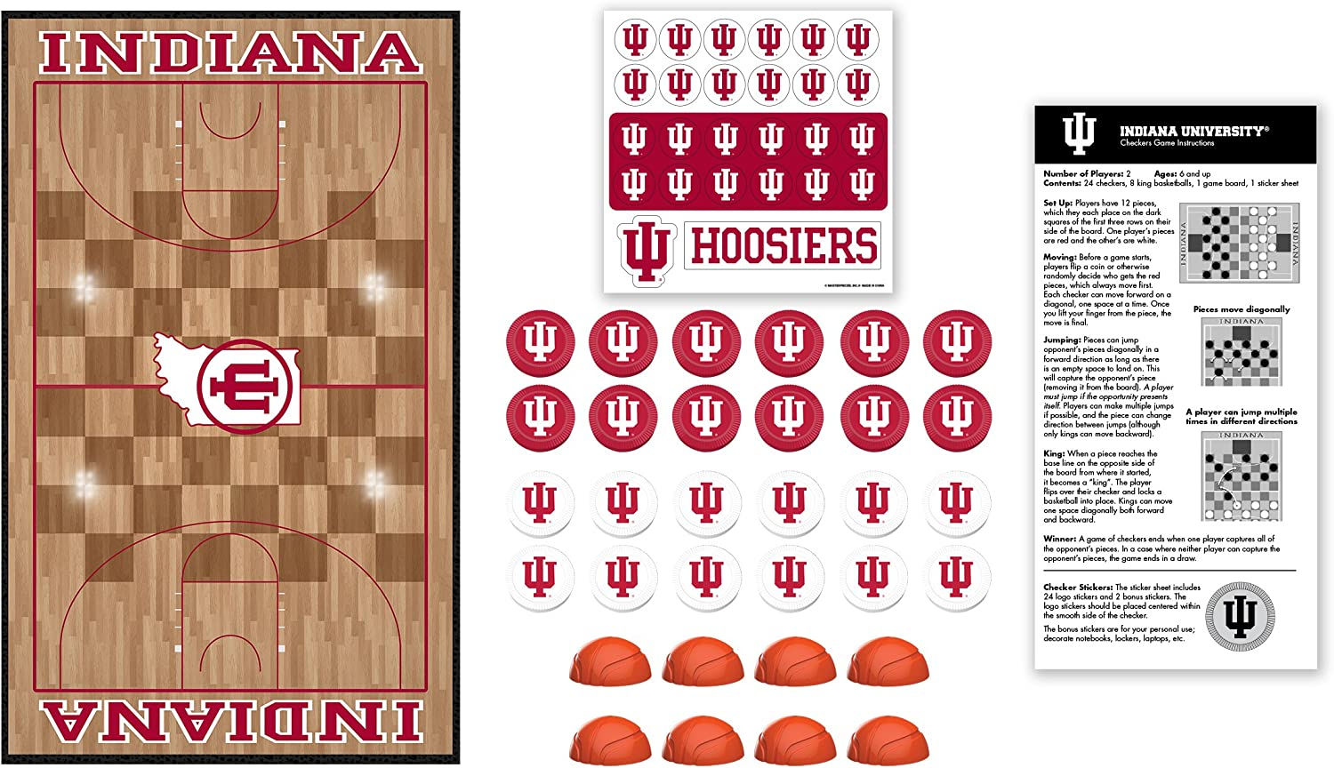 """MasterPieces NCAA Indiana Hoosiers Checkers Board Game Team Color, 13"""" x 21"""""""