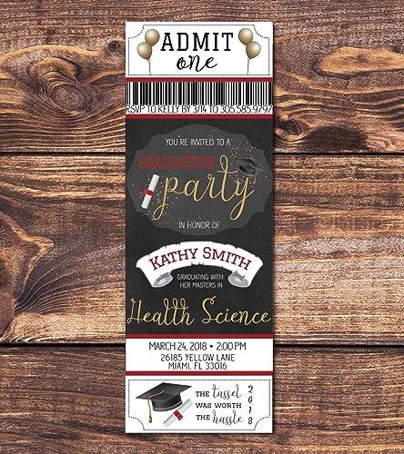 Amazon graduation ticket invite black gold graduation party graduation ticket invite black gold graduation party ticket graduation announcement printable downloadable filmwisefo