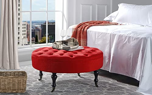Divano Roma Furniture – Round Tufted Microfiber Coffee Table with Casters, Ottoman with Wheels Red