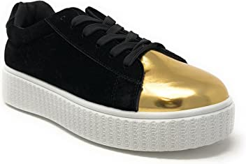 3ffc90d35b Pink Label Women s Velvet Lace-Up Fashion Sneaker with Gold-Toe