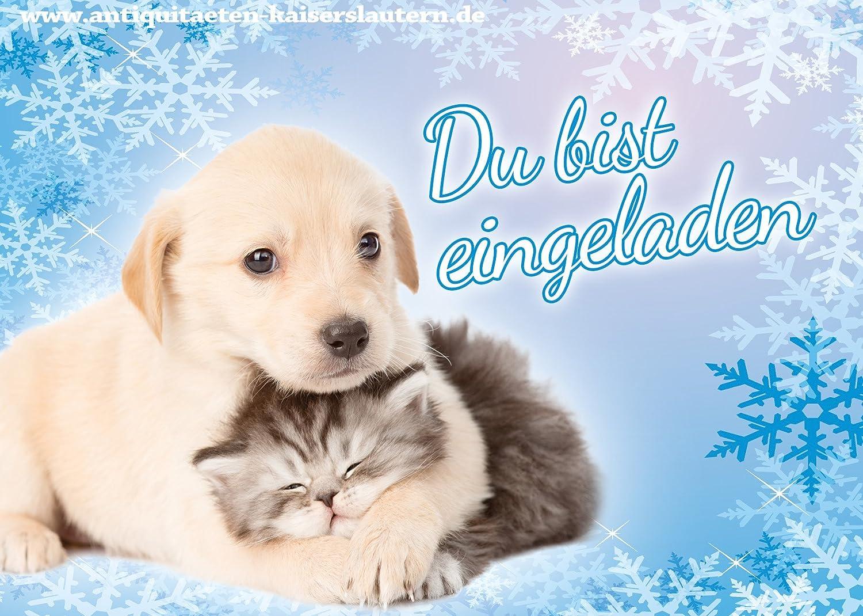 Einladungskarten Umschläge zum Kindergeburtstag Katzen Hunde Mädchen Jungen
