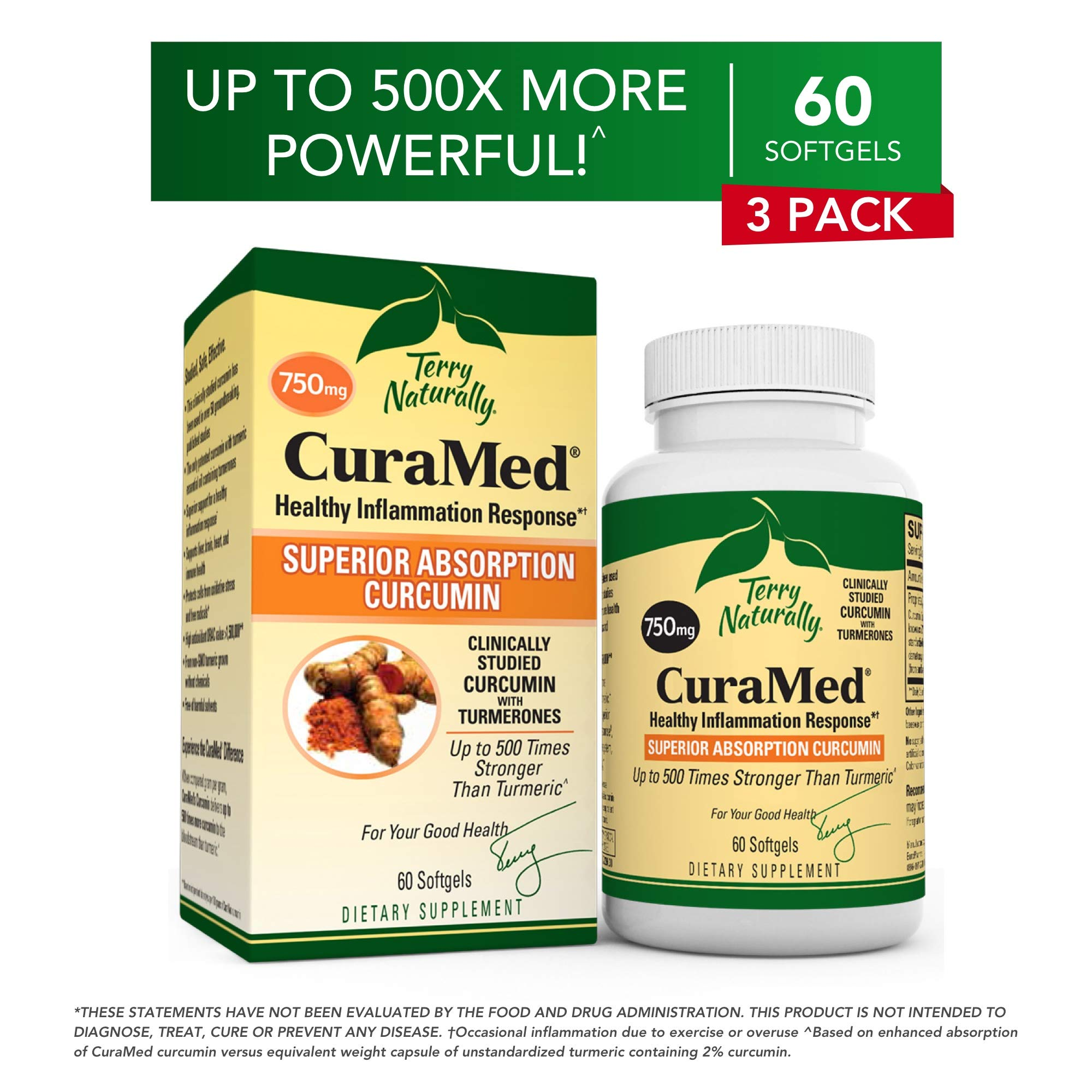 Terry Naturally CuraMed 750 mg (3 Pack) - 60 Softgels - Superior Absorption BCM-95 Curcumin Supplement, Promotes Healthy Inflammation Response - Non-GMO, Gluten-Free, Halal - 180 Total Servings