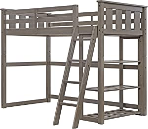 Better Homes and Gardens Loft Storage Bed with Spacious Storage Shelves, Multiple Finishes, (60 x 79 x 64, Gray)