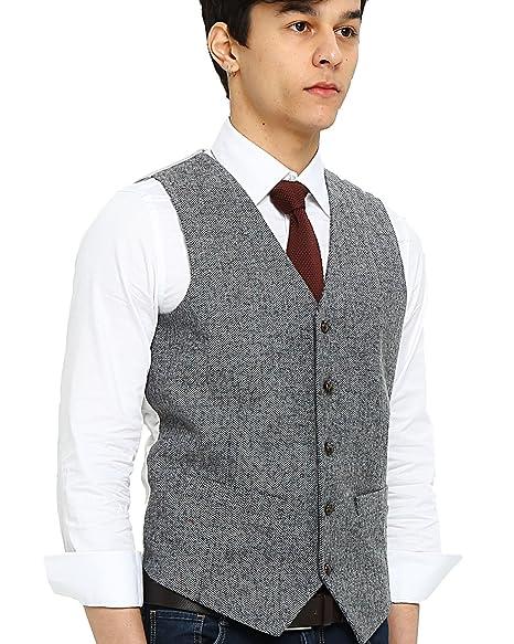 f6cf374ba1b Airtailors Men s Wool Donegal Herringbone Tweed Vintage British Style  Wedding Vest Gray (US 48)