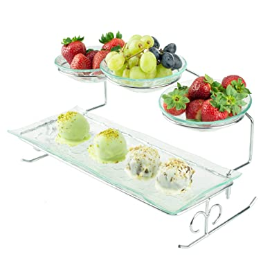 2 Tier Server Stand with Bowls & Tray - Tiered Serving Platter - Perfect for Cake, Dessert, Shrimp, Appetizers & More