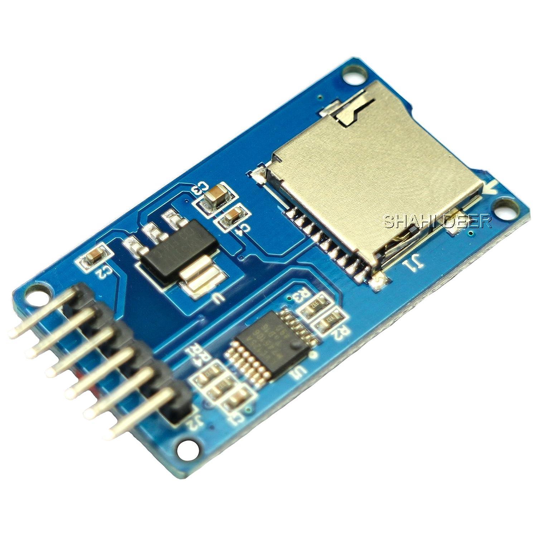 SHAHIDEER - Mó dulo de lector de tarjetas Micro SD TF con mó dulo de controlador SPI con conversió n de nivel de chip para Arduino UNO R3 MEGA 2560 DIY 1 pieza
