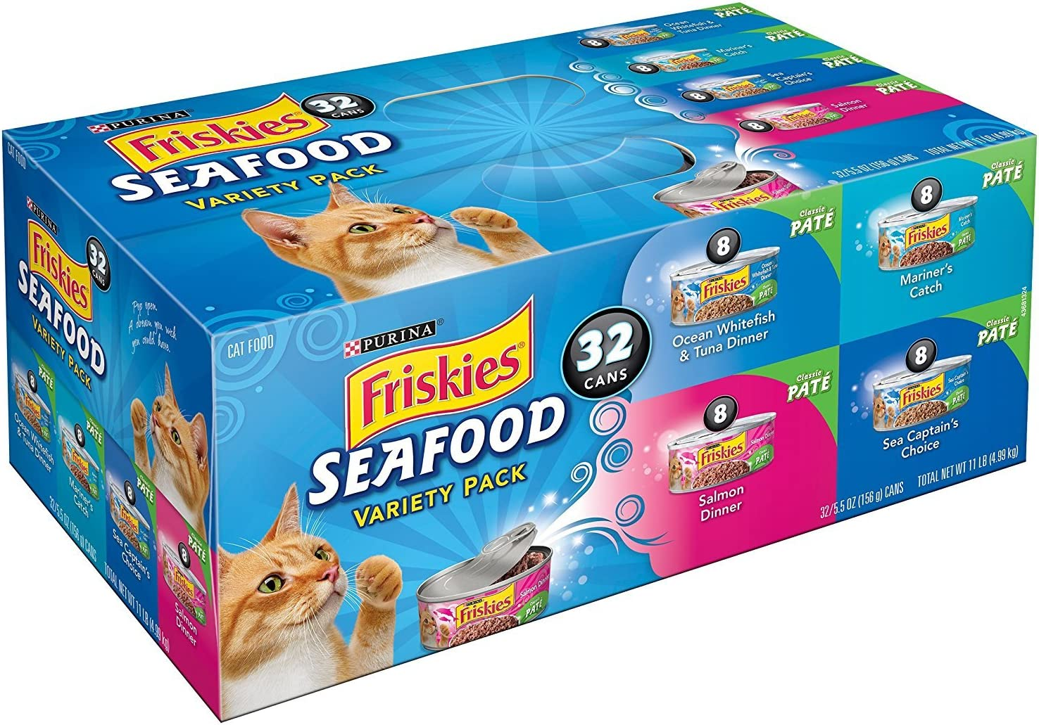 Friskies Seafood Variety Pack Canned Cat Food 32 - 5.5oz Cans