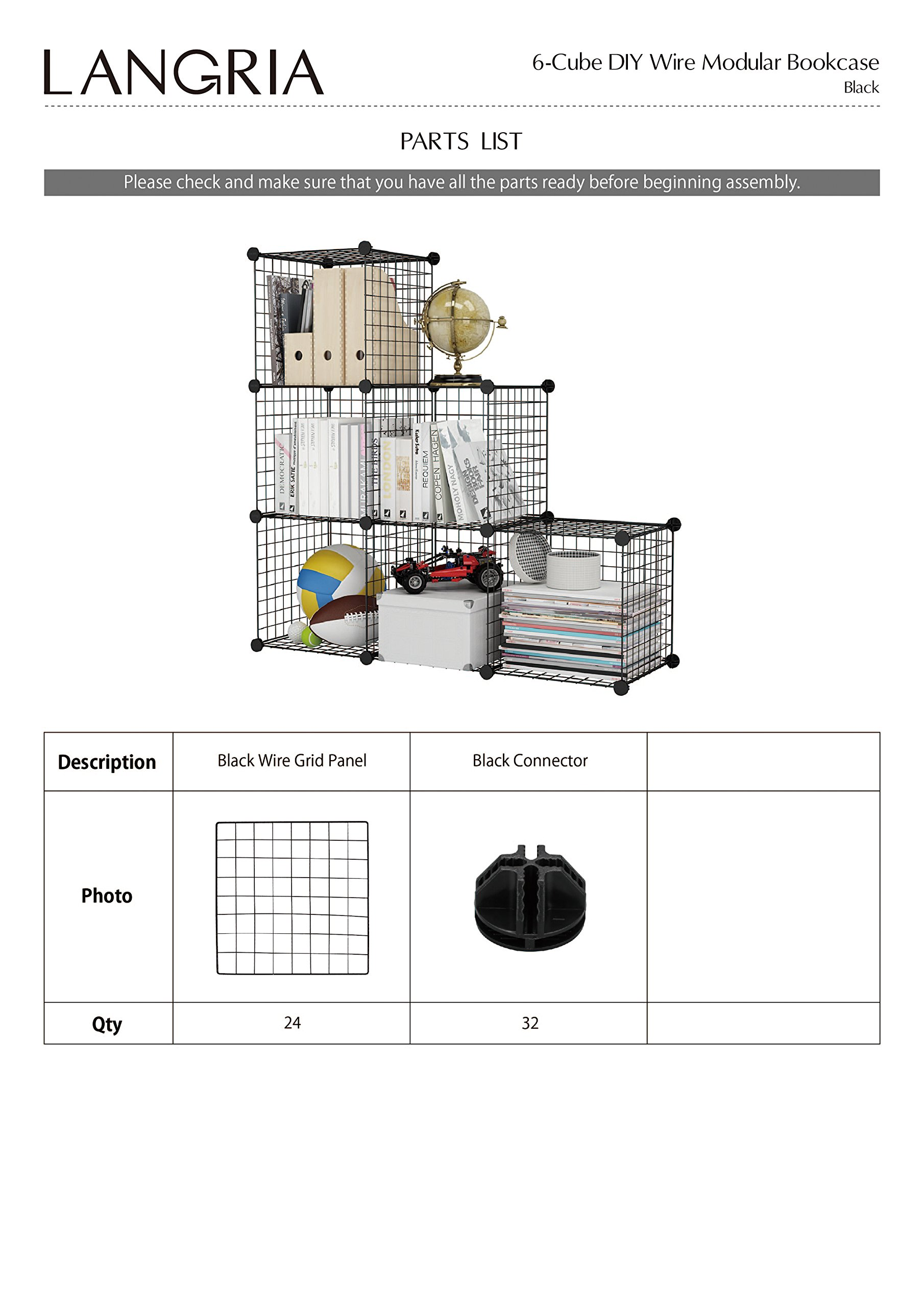 LANGRIA 24 pcs Metal Wire Storage Cubes Organizer, DIY Small Animal Cage for Rabbit, Guinea Pigs, Puppy | Pet Products Portable Metal Wire Yard Fence (Black) by LANGRIA (Image #6)