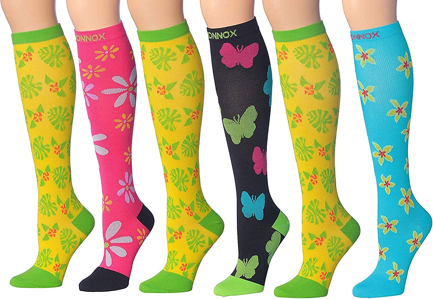 Ronnox Women's 6-Pairs Colorful Patterned Knee High Graduated Compression Socks, (12-14 mmHg)