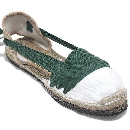 Alpargatas Tradicionales Planas Suela de Goma Diseño Tres Vetas o Tabernero Color Verde Oscuro: Amazon.es: Zapatos y complementos