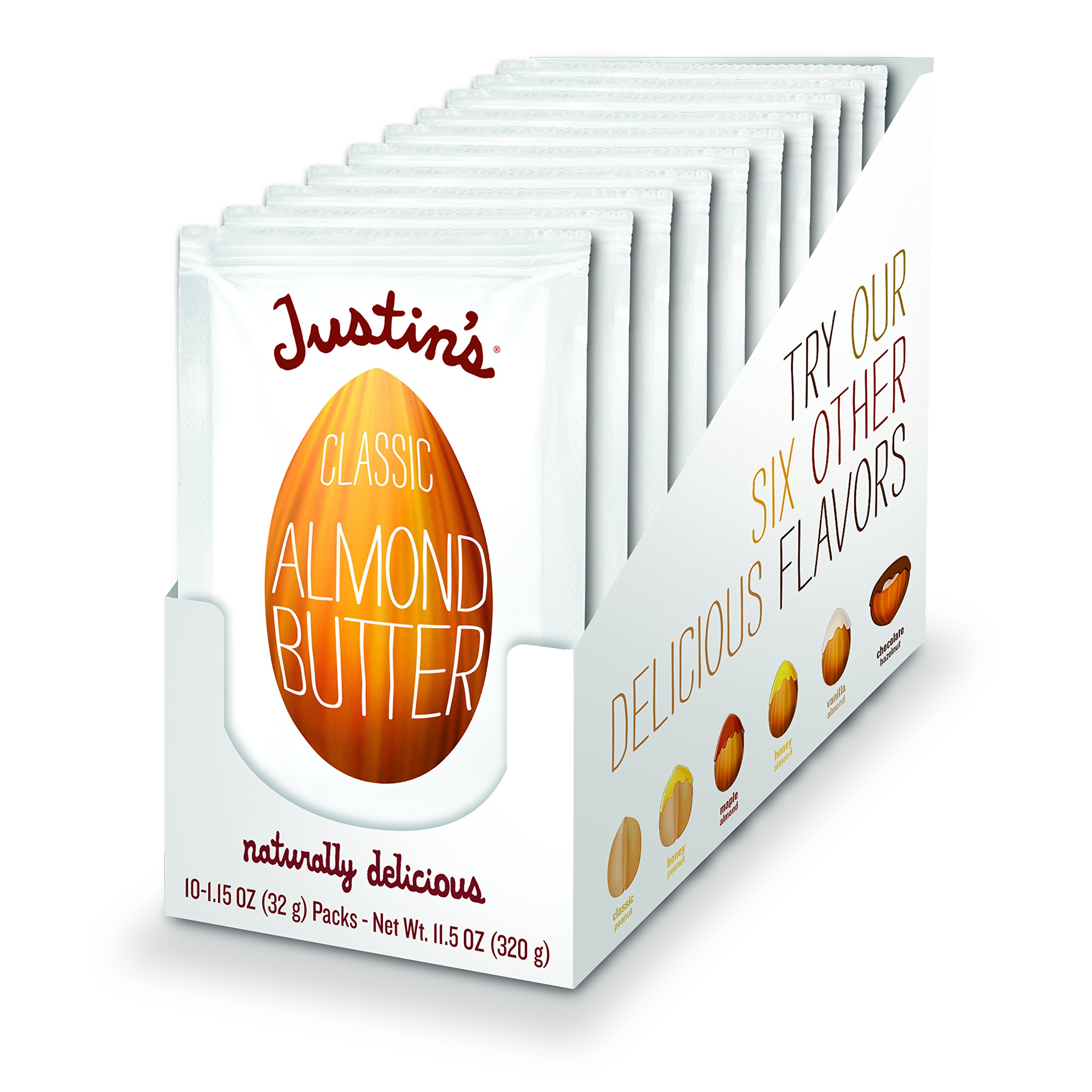 Classic Almond Butter Squeeze Packs by Justin's, Only Two Ingredients, Gluten-free, Non-GMO, Vegan, Responsibly Sourced, Pack of 10 (1.15oz each)