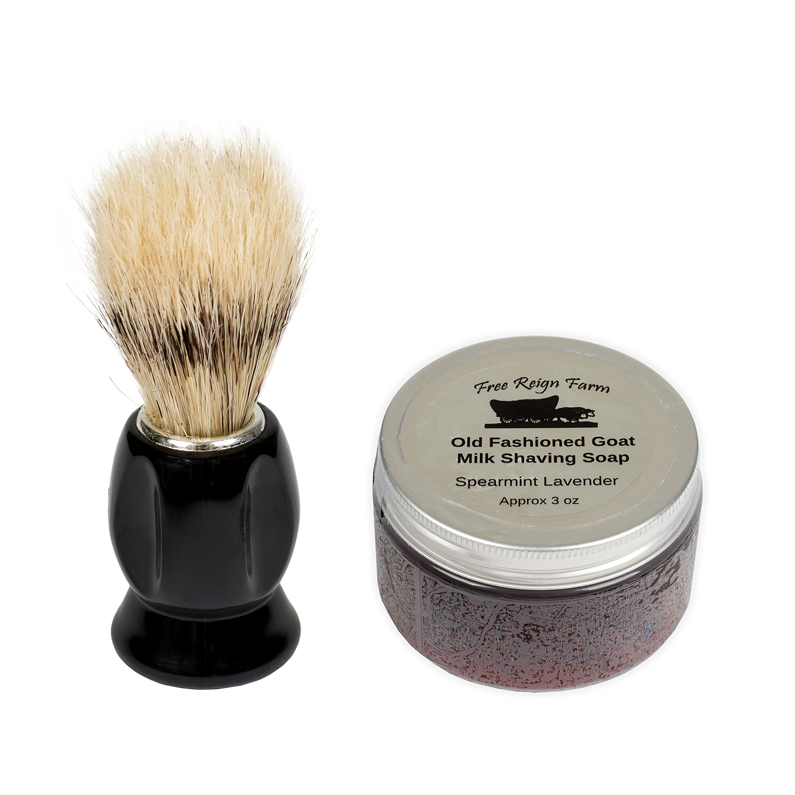 Free Reign Farm Spearmint & Lavender 3 Ounce Old Fashioned Goat Milk Shaving Soap with Brush by Free Reign Farm