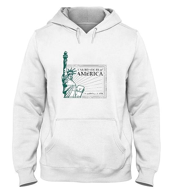 Sudadera con Capucha para Hombre Blanca T0625 USA stauta Della Liberta Fun Cool Geek: Amazon.es: Ropa y accesorios