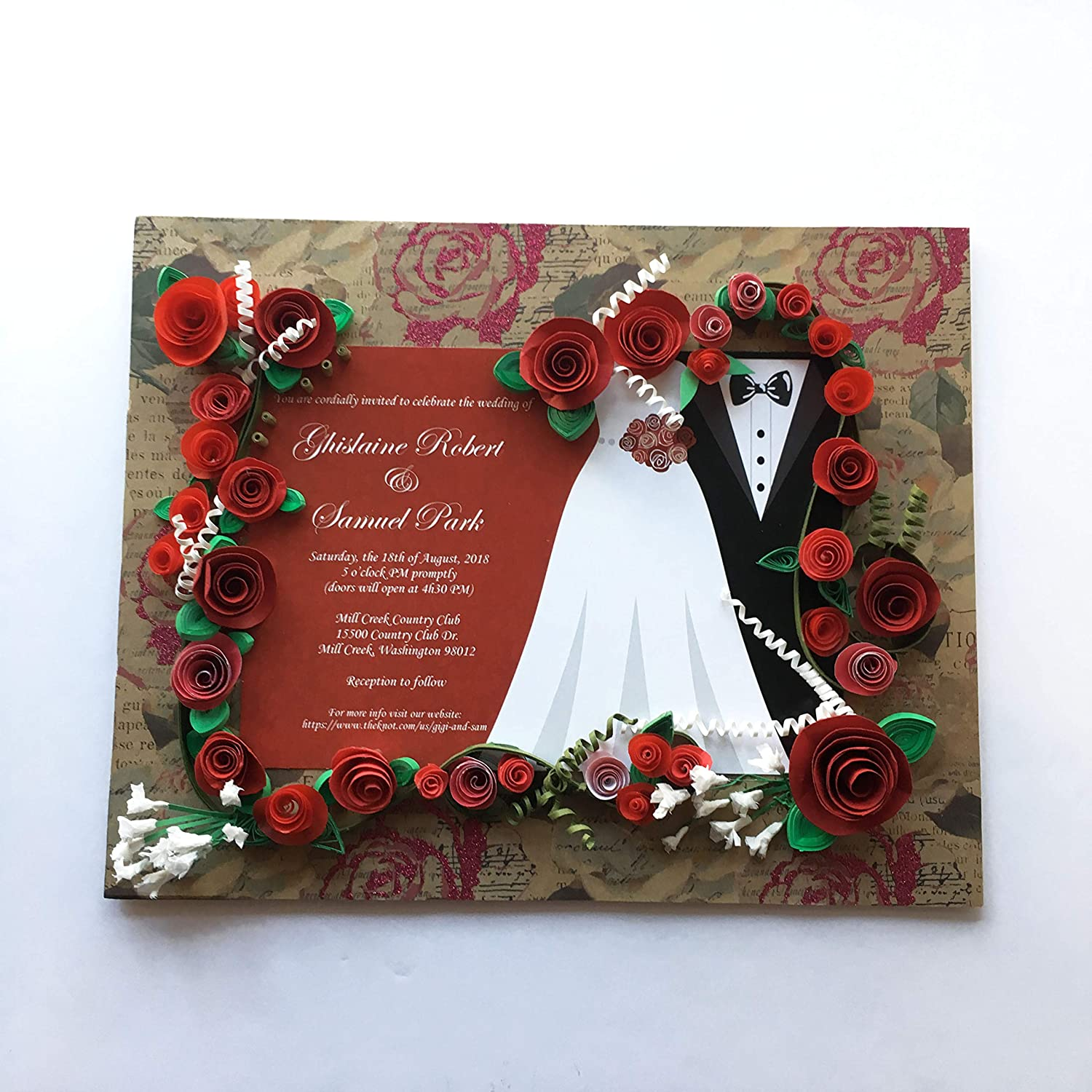 Rose Themed Wedding Invitation Keepsake: Amazon.ca: Handmade