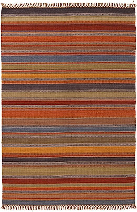 Indian Arts Ooty Indian Kilim - Alfombra (80% lana, 20% algodón), color gris y rojo 75 x 120cm natural: Amazon.es: Hogar