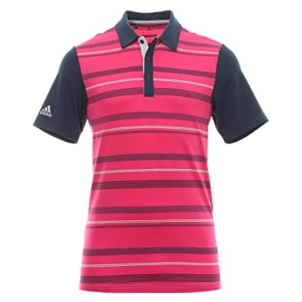 55210a63de5 adidas Golf 2018 Ultimate 365 Stripe Mens Golf Polo Shirt Real Magenta Small