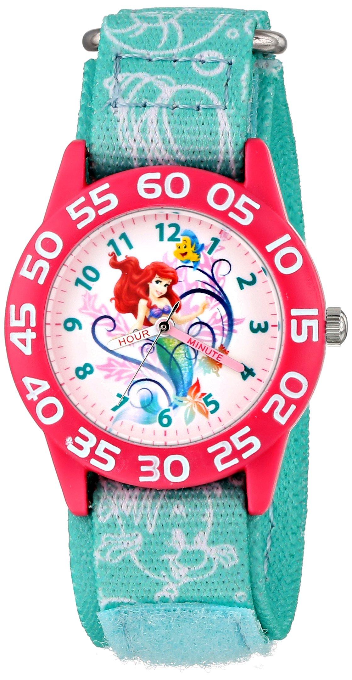 Disney Kids' W001190 Ariel Little Mermaid Time Teacher Watch with Blue Nylon Band
